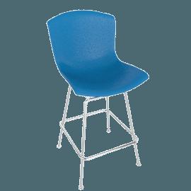 Bertoia Plastic Counter Stool, Blue Shell, Chrome Frame