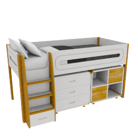 Curve Mid-Sleeper, 3 Drawer Chest and Cube Shelving Unit, 2 Doors, Oak