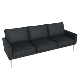 Raleigh Sofa , Frame -Oak, Vienna Leather -Ebony