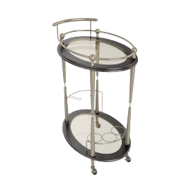 Hallway Serving Trolley, Brass/Walnut