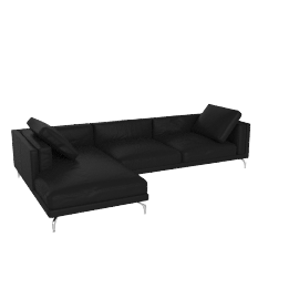 Como Sectional Left Chaise, Kalahari Leather - Black