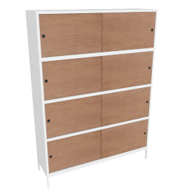 Sapporo Four High Shelving with Doors, White /Walnut Oak Doors
