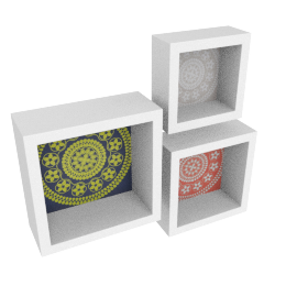Oriental Set of 3 Wall Shelf, White