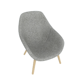 About A Lounge 92 Armchair, High Back, Divina Melange 120 Light Grey / Oak