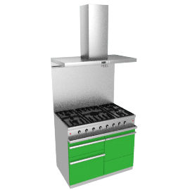 Westahl WG1052GECTAPK1 Dual Fuel Cooker, Hood and Splashback Package, Silice Green