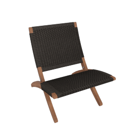 Cuba Outdoor Lounge Chair, Walnut/Black