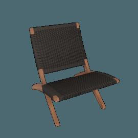 Cuba Outdoor Lounge Chair, Walnut/Black