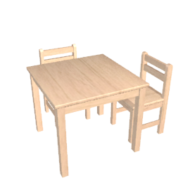 Rubberwood Table and Chairs, Natural