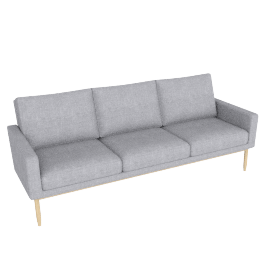 Raleigh Sofa , Frame -Oak, Fabric -Pebble Weave: Fog