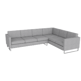 Goodland Large Sectional Stainless Legs, Basket Weave Silver