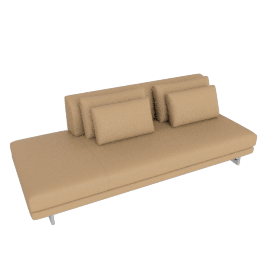 Lecco Open Sofa Left, Kalahari Leather - Sand with Aluminum Base