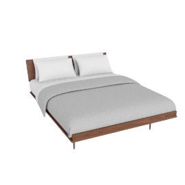 Nelson Thin Edge Queen Bed, Tapered Legs, Walnut