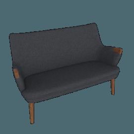 CH72 Sofa, Dark Navy with Walnut