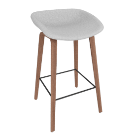 About A Stool 33 Bar Stool, Remix 0123 Light Grey / Walnut