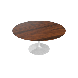 Saarinen Round Dining Table 60'', Rosewood - White.Rosewood