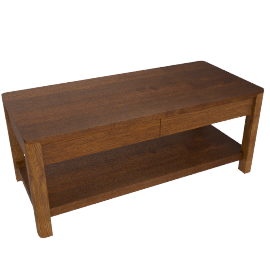 Seymour Coffee Table with 2 Drawers, Dark Stain