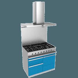 Westahl WG1052GECTAPK1 Dual Fuel Cooker, Hood and Splashback Package, Prussian Blue