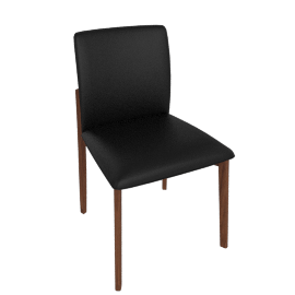Contour Chair, Kalahari Leather Black with Walnut Leg
