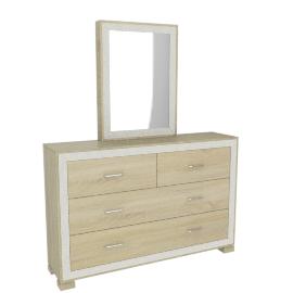 Hayden 6Drawers Dresser W/Sldg Mirror, HG Cream/L.Oak