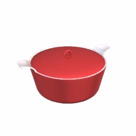 Ceramic Casserole Dish, Red Lacquer, Dia.23cm
