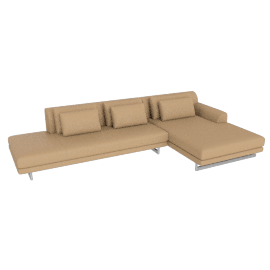 Lecco Open Sectional with Chaise, Kalahari Leather - Sand with Aluminium Base
