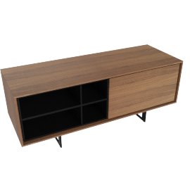 Aura Small Media Unit, Walnut/Black