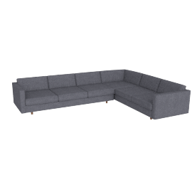 Lispenard Corner Right Facing Sectional, Pebble Weave Pumice with Walnut Leg