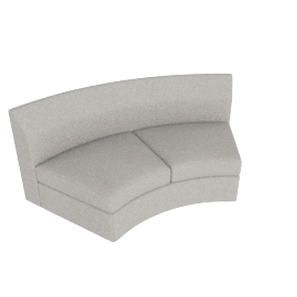Bevel Sofa Group Inside Curve Settee, Noble Fabric Heathered Grey with Ebony Leg