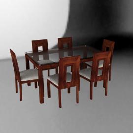 Basement Home Juego de comedor rectangular 6 sillas Capri musa
