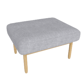 Raleigh Ottoman , Frame -Oak, Fabric -Pebble Weave: Fog