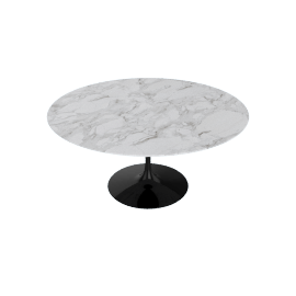 Saarinen Round Dining Table 60'', Calacatta - Blk.Calacatta