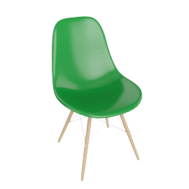 Eames Molded Fiberglass Dowel-Leg Side Chair (DFSW), Green with Chrome Base and Maple Leg