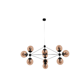 Modo Chandelier - 3 Sided - 10 Globe - Black