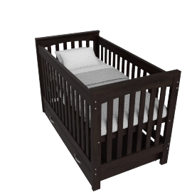 Little Sweetie Nursery Bed With Drawer, Dark Wood