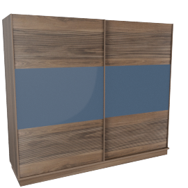 Rustik 2-Drawer Sliding Wardrobe, Walnut