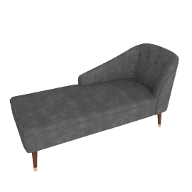 Margot LHF Chaise, Pewter Grey Velvet