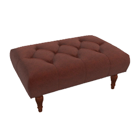 Langley Footstool, Antique Hide
