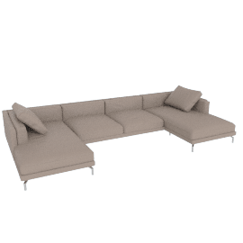 Como Double-Chaise Sectional, Leather Grey