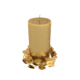 Large Pillar Candle with Sequins, Gold