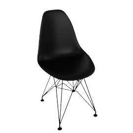 Eames DSR Side Chair, Black with Black Base