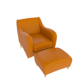 Balzac Chair And Ottoman, Russet Tan
