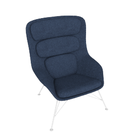 Striad Chair, High Back with Wire base, Noble Heathered Twilight/Black Shell with White base