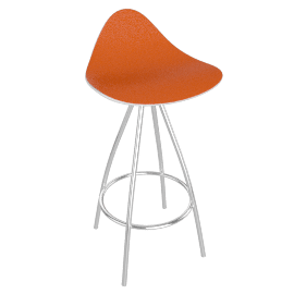 Onda Counter Stool Chrome - Shny.WhtOrange
