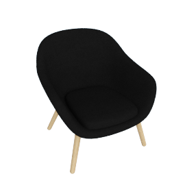 About A Lounge 82 Armchair, Low Back, CA 5001 Black / Oak