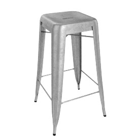 Pair of Legend Café Barstools, Galvanized