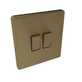 Light Switch, Oxford 2 Gang 2 Way Rocker, Brushed Brass