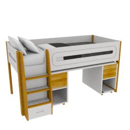 Curve Mid-Sleeper and Desk 2 doors, Oak