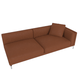 Como One-Arm Sofa in Leather, Right, Canyon