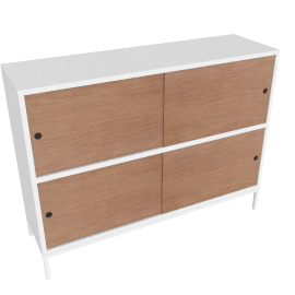 Sapporo Two High Shelving with Doors, White /Walnut Oak Doors