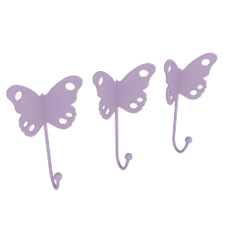 Butterfly Wall Hooks - Set of 3, Purple
